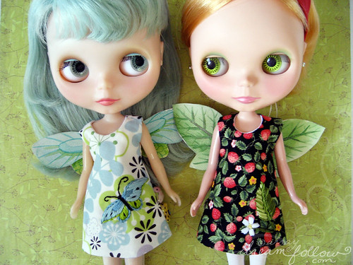 Fairy Blythe dresses with hand painted wings