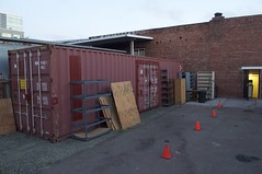 asphalt, wall, shipping container, property, residential area, facade,