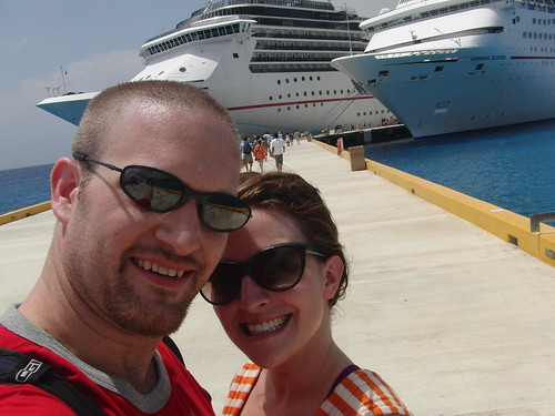 In the Cozumel Port. (Our ship is on the left.)