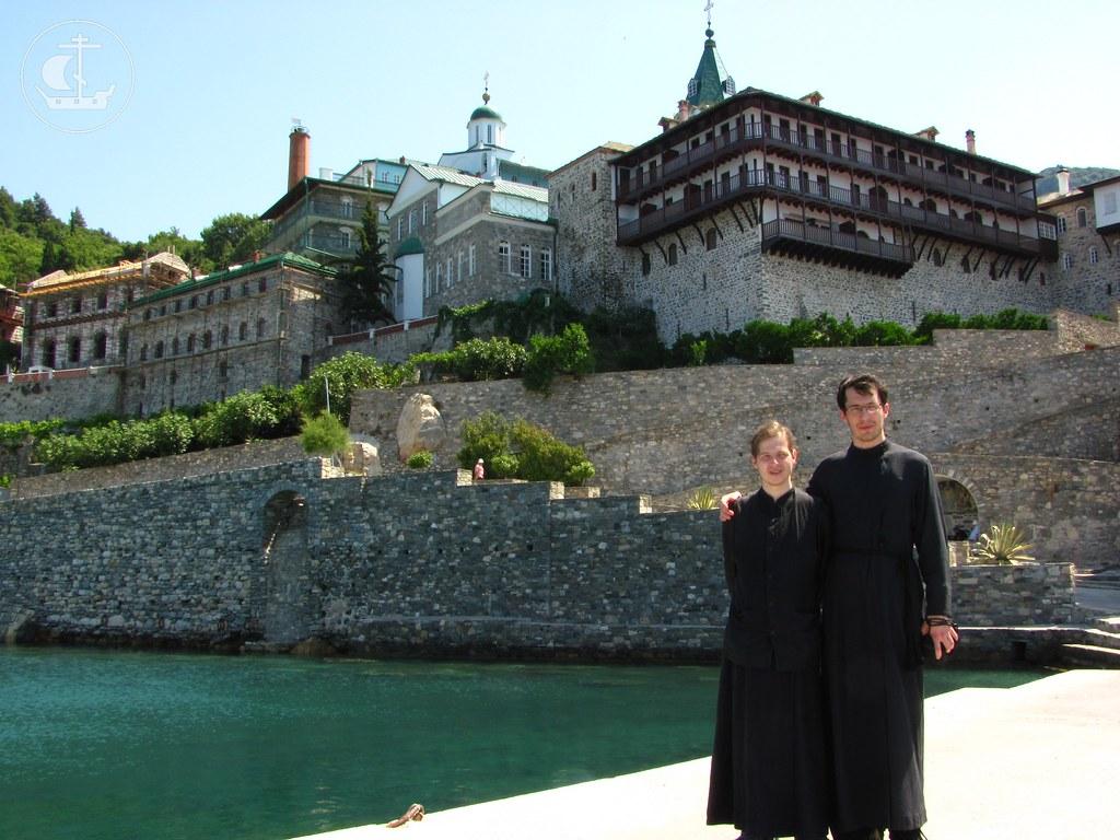 На пристани Русского на Святой Горе Афон Свято-Пантелеимонова монастыря