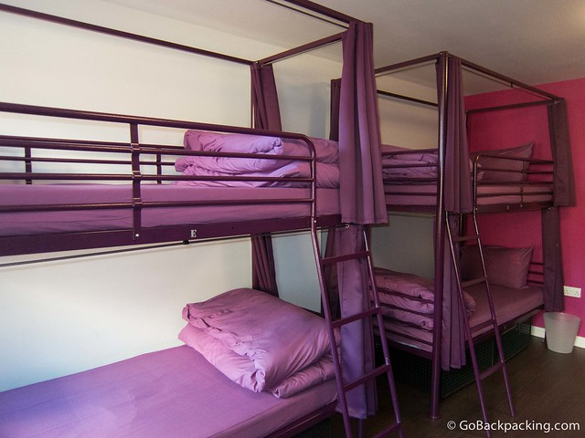 Bunk beds with privacy curtains