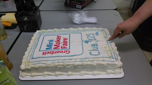 Cutting the Official Greenbelt Mini-Maker Faire Cake