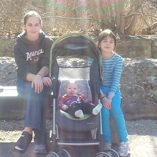 Girls and Grand on a hike beside the Cuyahoga River on a nice spring day.