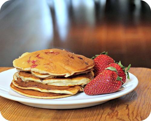 Strawberry Sour Cream Pancakes