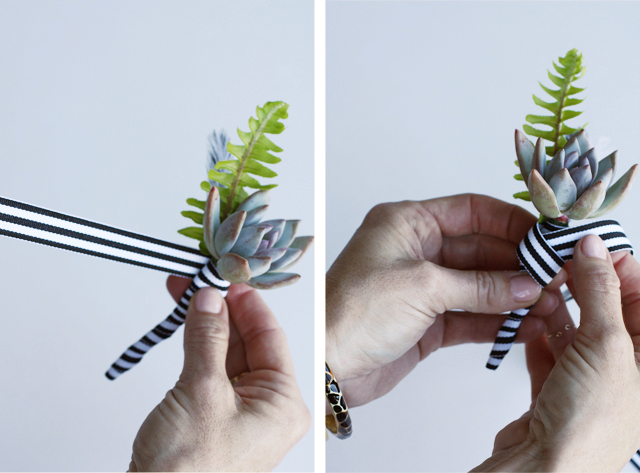 ribbon on boutonniere