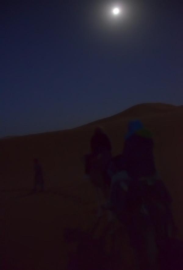 Caminando bajo la luna en el desierto