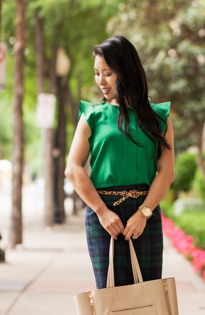 cute & little blog | petite fashion | green flutter sleeve blouse, leopard belt, plaid skirt | spring outfit
