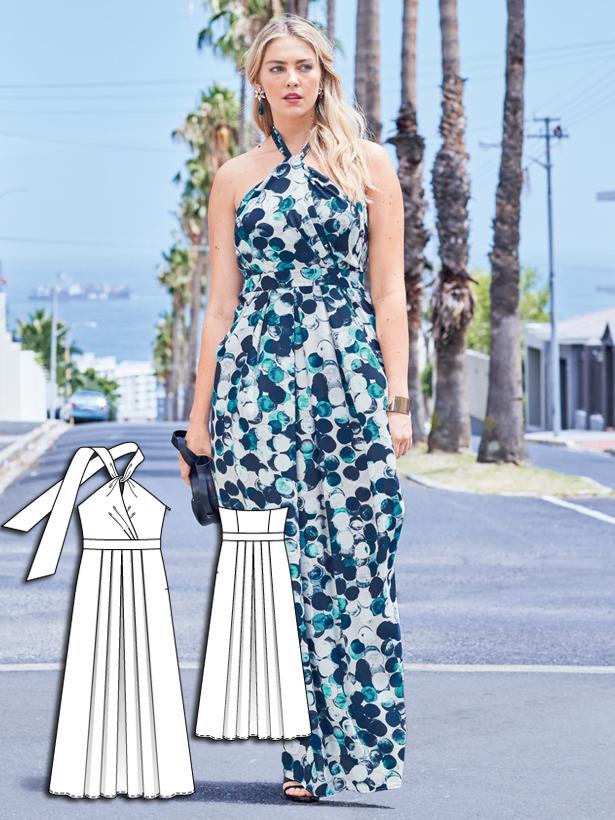 plus size halter maxi dress sewing pattern 132-062016-B