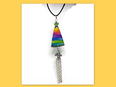 polymer clay Rainbow Tassel Necklace