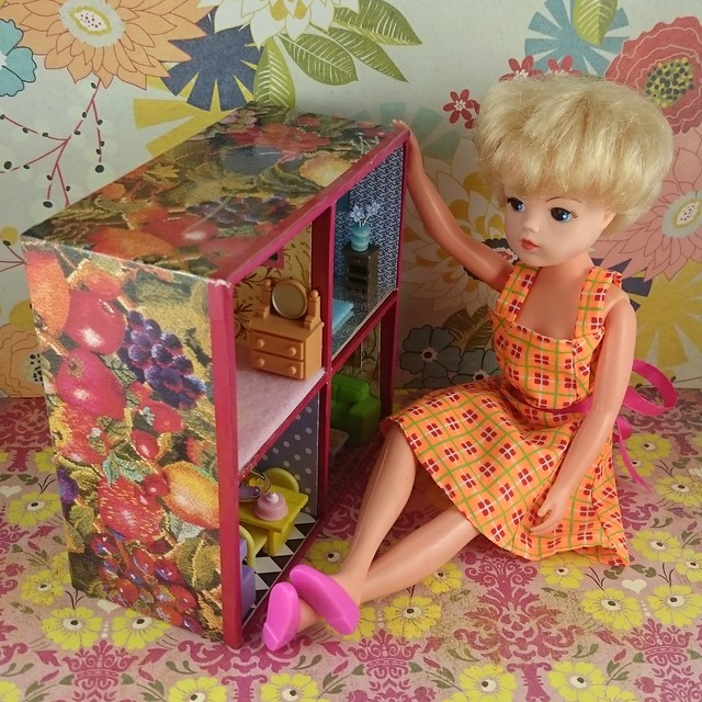 Sindy Doll looking at the Tiny House