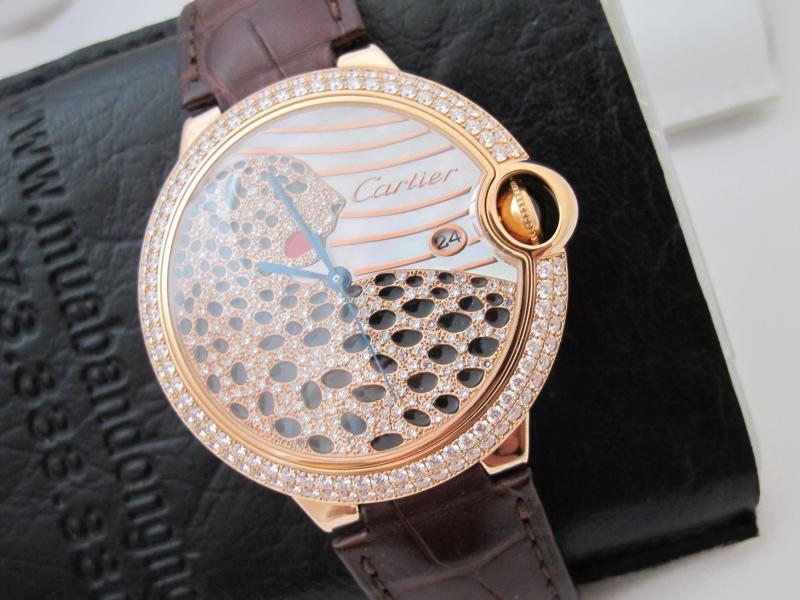 Bán đồng hồ Cartier Ballon Bleu – Vàng hồng 18k – Mặt con báo – Size 42mm