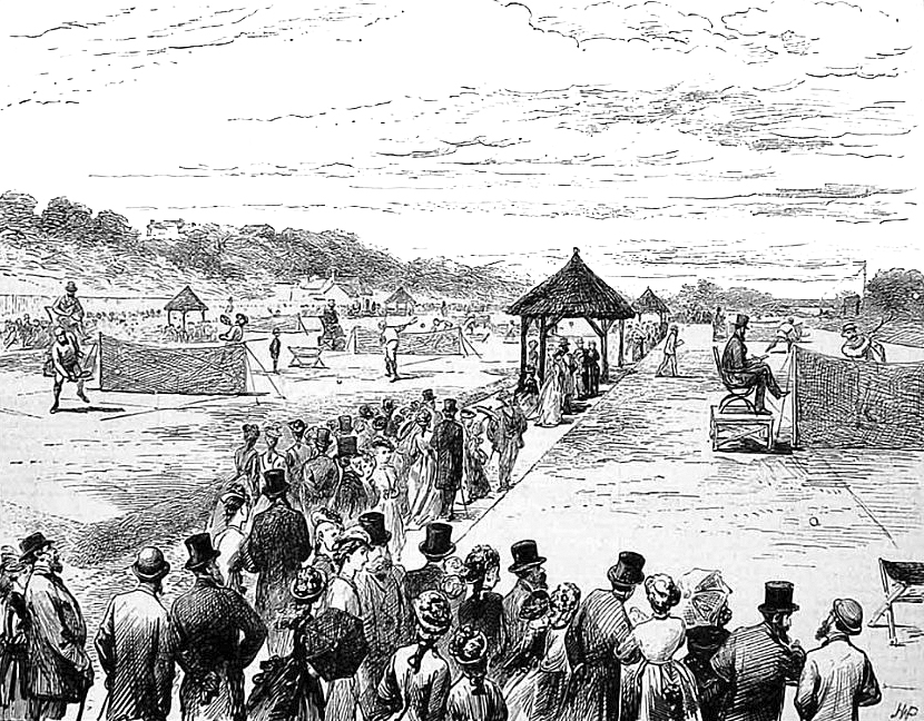 Engraving of the first Wimbledon Championships 1877