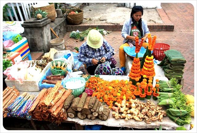 luang prabang morning market wood & flowers