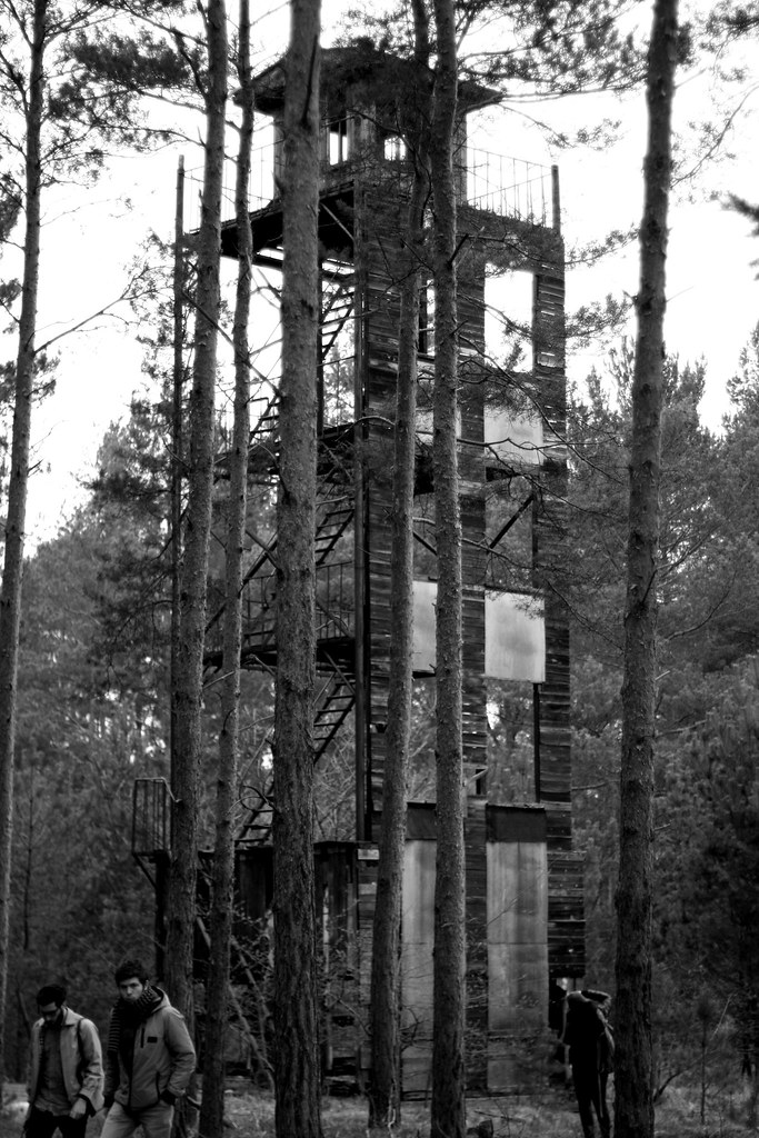 wooden tower Jüterbog black and white