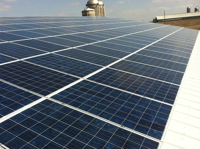 Close-up of completed project - Gibbs Dairy goes solar