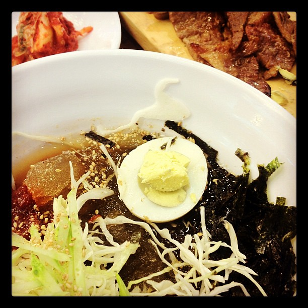 Nothing like cold noodles 메밀막국수 on a hot day! Nomnomnom.