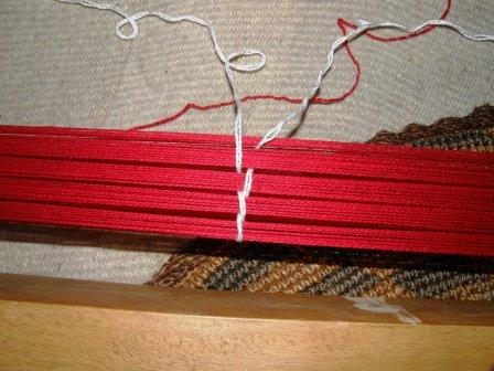 tying off sections of warp
