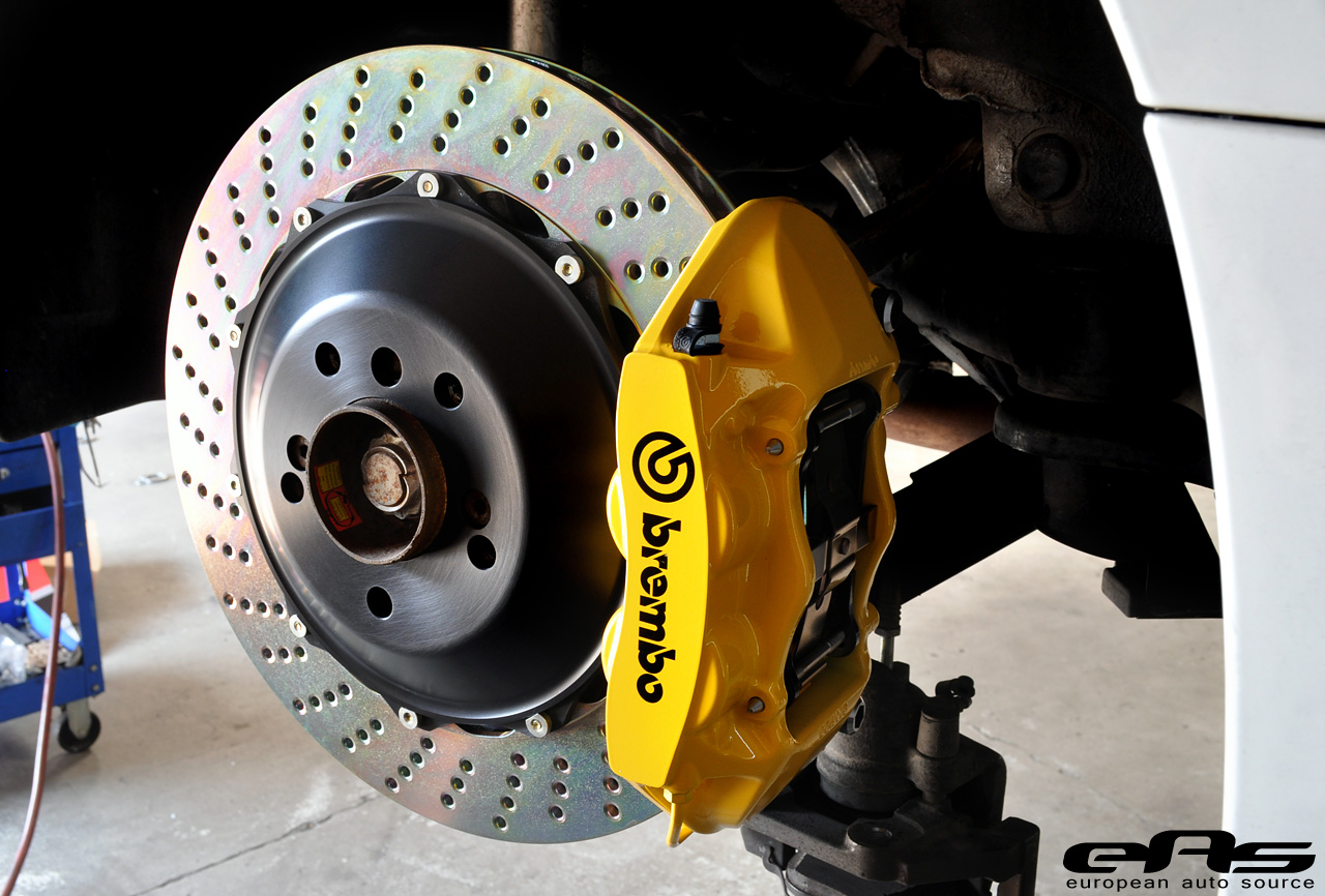 Yellow Brembo Big Brake Kit Installed On Alpine White E92