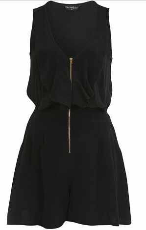 miss selfridge black zip frill playsuit 37.00