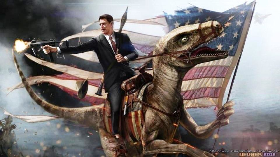 Ronald Reagan riding velociraptor