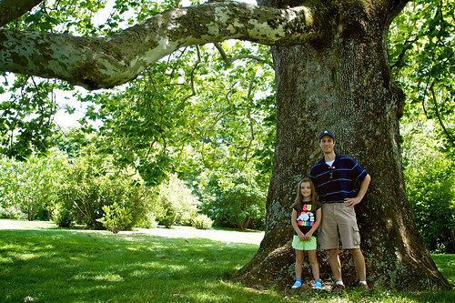 Mark and Lauren standing under the old sycamore tree.