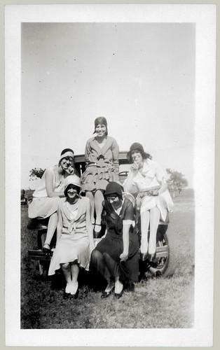 Five girls on a bumper