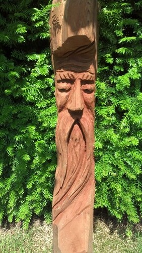 Hand Carved Cedar Wood Spirit Faces $100, 4' tall