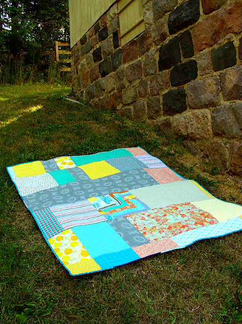 improv chevron quilt back