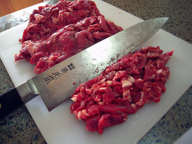Chopping Steak for Burgers