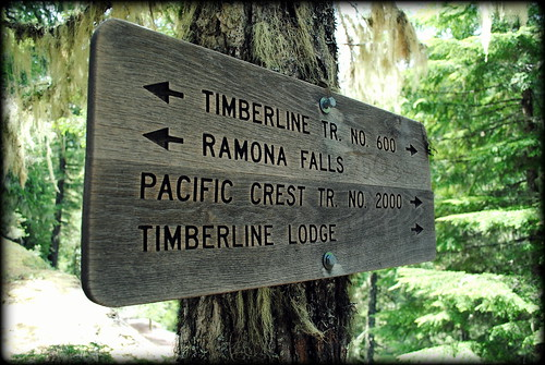 Trail sign on the Ramona Falls Trail - Mt Hood