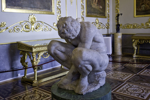Crouching Boy c.1530-1534 Michelangelo (Michelangelo Buonarroti) 1475-1564. His only work in the Hermitage, St. Petersburg, Russia.