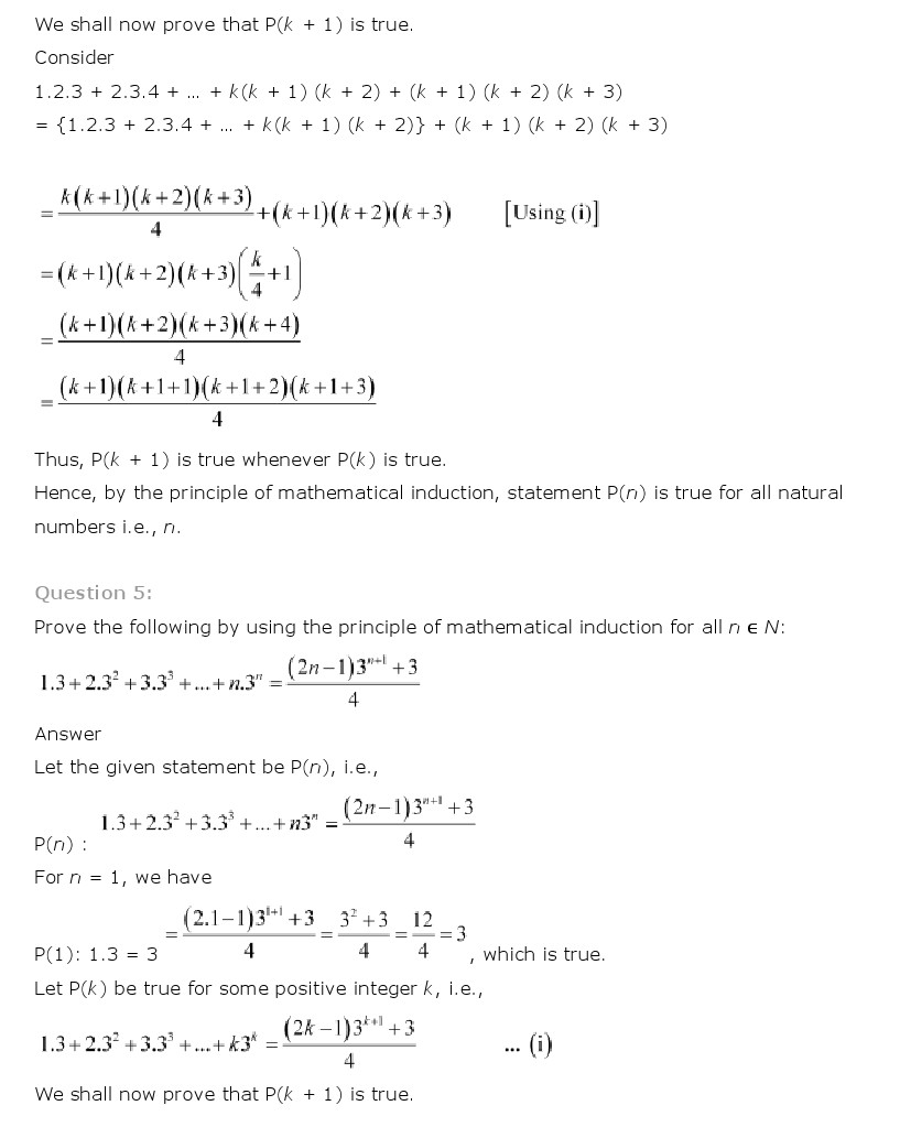 NCERT Solutions for Class 11th Maths Chapter 4 - Principle of Mathematical Induction