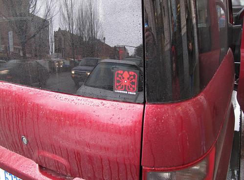 the elusive red Laughing Squid sticker