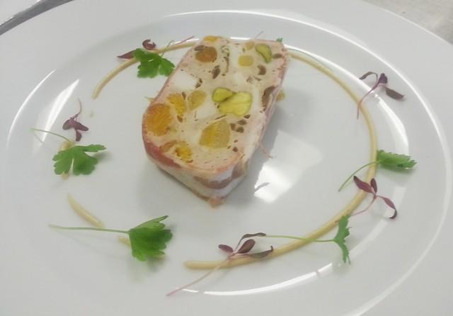 Pork chicken apricot pistachio terrine flickr for Chicken and pork terrine with pistachio