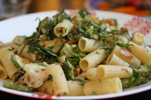 Rigatoni with Garlic, Summer Squash, Basil, Onion, Broccoli, and Cauliflower