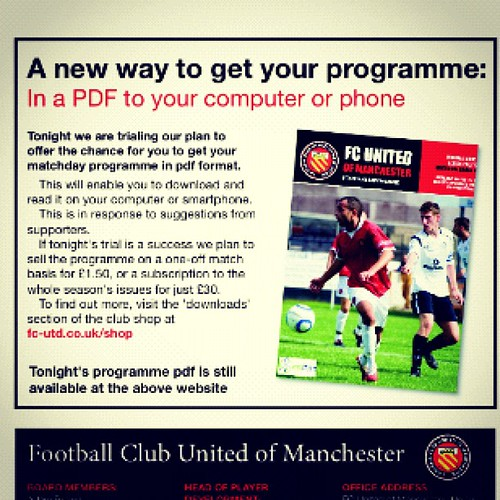 FC United programme in IPhone