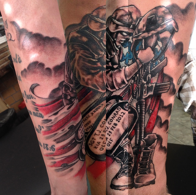 Soldier memorial tattoo for Sgt. Conrad who was killed during the ...