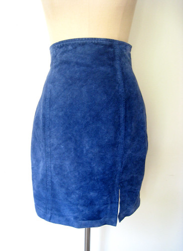 Cobalt Blue High Waist Suede Skirt, vintage 80s