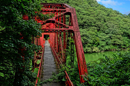 the red bridge in green forest and lake