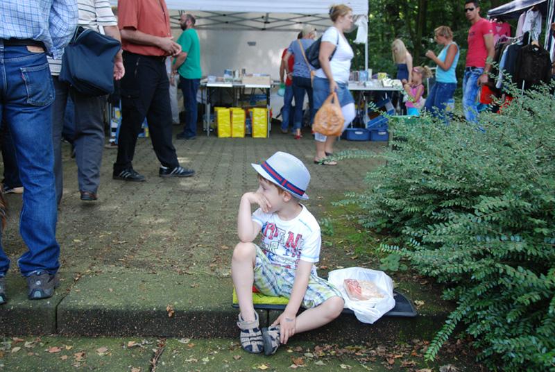 My son at flea market