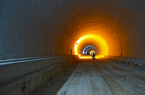 Riding through the unfinished side of the tunnel