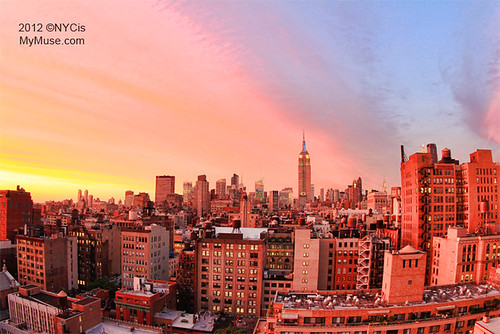 Glorious Rainbow Colored NYC Sunset, Empire State Building in Green, White, Blue