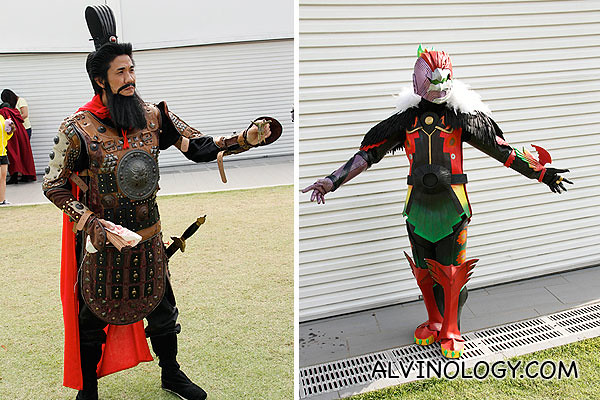 Left: character from Three Kingdom; Right: some masked hero