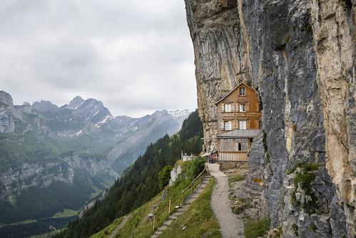 gasthaus aescher wildkirchli appenzell innerrhoden alpstein mountain berg fels felswand switzerland schweiz suisse nikon d800e hike hiking wandern wanderung seealpsee meglisalp rotsteinpass cloudy day