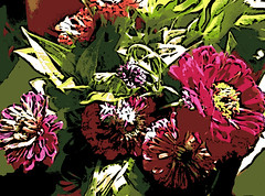 Bouquet in Sunlight (Digital Woodcut) by randubnick