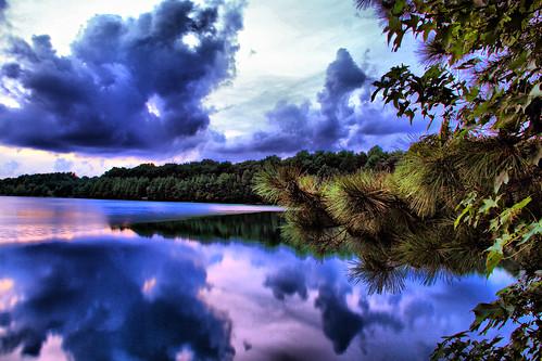 sunset clouds reflections bluehour chesapeakevirginia canon7d oakgrovelake oakgrovelakepark deanwhitehurst
