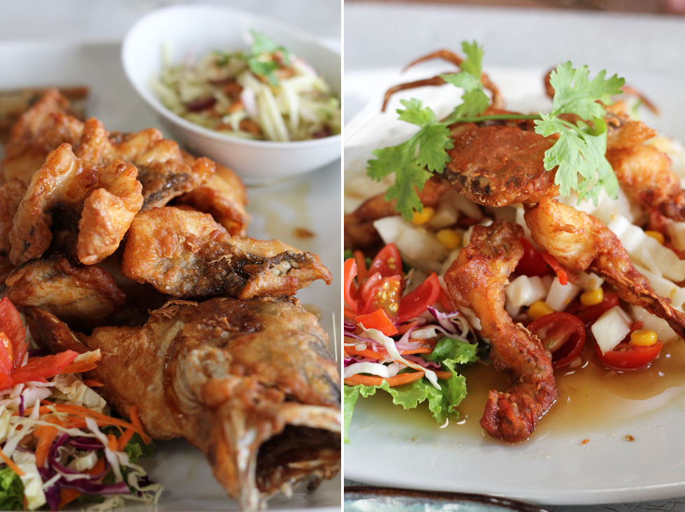 The beautiful deep fried soft shell crab