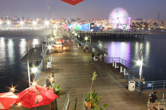 Santa Monica Pier walkway (Boardwalk) area lit up with LED Pendants lights