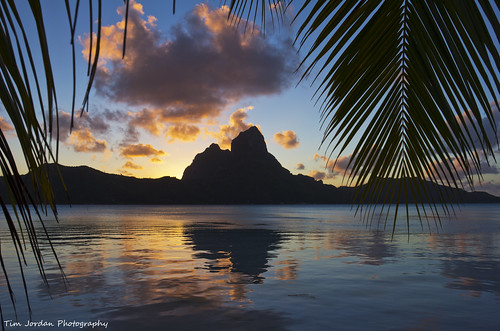 blue sunset vacation sky holiday reflection beach sunrise paradise palmtrees southpacific tropical tahiti whitesand coconuts borabora frenchpolynesia timjordan mtotemanu timjordanphotography