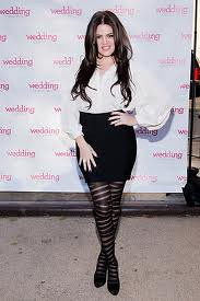 Khloe Kardashian Odom Patterned Tights Celebrity Style Woman's Fashion